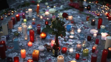 Flowers and candles in mourning for the dead at the Place de la Bourse in Brussels in March.