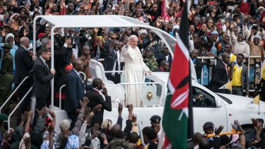 Pope Francis arrives at the University of Nairobi for a public Mass in downtown Nairobi, Kenya.