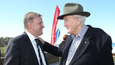 Albanese with Labor elder statesman and mentor Tom Uren in 2010.