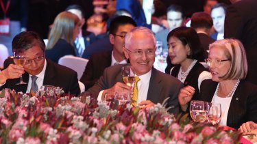 Prime Minister Malcolm Turnbull and Lucy Turnbull at the Australia week in China gala lunch in Shanghai