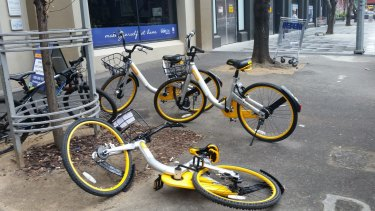 Abandoned oBikes in Melbourne.