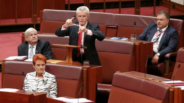 One Nation's Senate team, including (left to right) Brian Burston, Pauline Hanson, Malcolm Roberts and Rod Culleton.