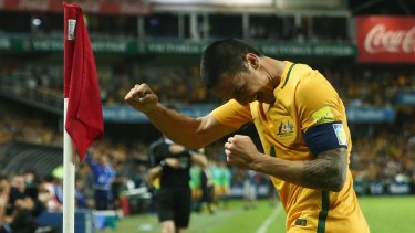 Star of the show: Tim Cahill is on track to make 100 appearances for Australia.
