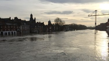 The swollen River Ouse from Bridge Street in York on Monday.