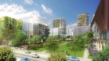 An artist's impression of the greater Parramatta proposed redevelopment, at Sydney Olympic Park central precinct.