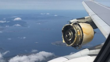 The engine of the Air France plane before the plane landed in Canada.
