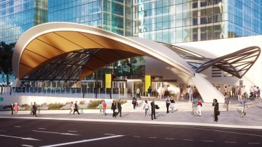 How the Norwest Station on Sydney's north-west line will look once the project is complete.