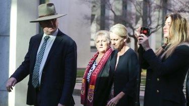 Barnaby Joyce (far left) in June last year with media adviser Vikki Campion (far right).
