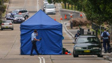 Police at the scene of a fatal crash between cyclist Nicholas Ruygrok and a car in Maroubra.