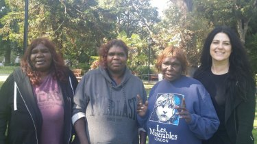 Monica (Maisie's mother), Maisie (Gene's Aunty), Alamay (Gene's mother) stand together with Ingrid Bishop outside the Supreme Court.