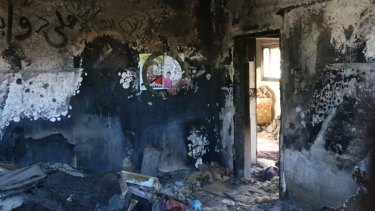 The destruction inside the home that was firebombed by Israeli extremists, killing 18-month-old Ali Dawabshe and his parents.