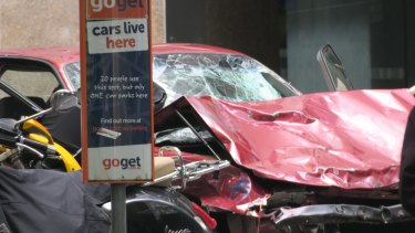 The car after the Bourke Street attack.
