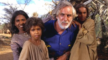 Director Phillip Noyce with, from left, Everlyn Sampi, Tianna Sansbury and Laura Monaghan on the set of the 2002 film <i>Rabbit Proof Fence</i>.