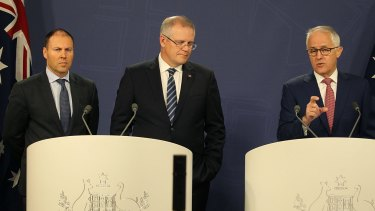 Prime Minister Malcolm Turnbull, with Treasurer Scott Morrison and  Energy and Environment Minister  Josh Frydenberg during a press conference regarding the shortfall in fas for the domestic market.