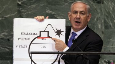 Israeli Prime Minister Benjamin Netanyahu  warns the UN General Assembly of the dangers of Iran's nuclear program in September 2012.