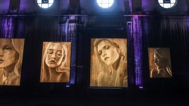 Paintings on canvas of Rone's model muses.