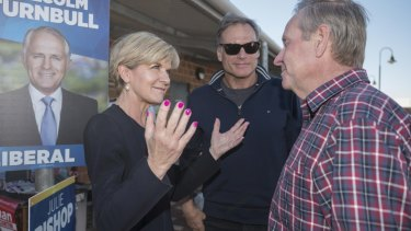 Julie Bishop greets Colin Barnett on polling day for the federal election.