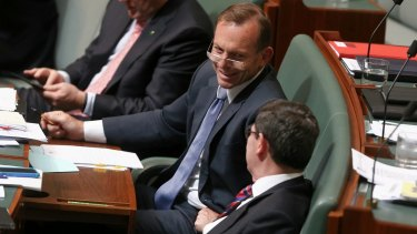 Former prime minister Tony Abbott and former defence minister Kevin Andrews during Question Time in Parliament on Tuesday.