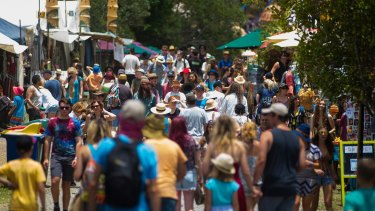 Crowds at the Woodford Folk Festival on the Sunshine Coast.