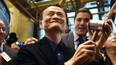 Alibaba founder Jack Ma at the opening of trading of the e-commerce giant on the Stock Exchange in New York in September.