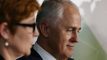 Prime Minister Malcolm Turnbull launches the 2016 defence white paper in Canberra with Defence Minister Senator Marise Payne.