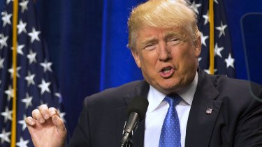 Republican presidential candidate Donald Trump making a point.