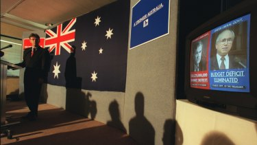 1998: Then Liberal Party National Campaign Director Lynton Crosby launching the party's campaign at the Liberal party's HQ in Melbourne.