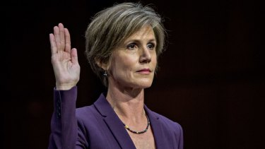 Sally Yates, former acting US attorney general, swears in to a Senate Judiciary Subcommittee on Crime and Terrorism hearing in Washington, DC.