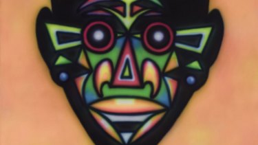 A partial view of Howard Arkley's Zappo Head 1987.