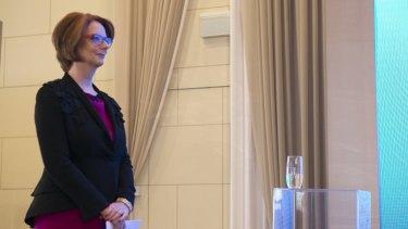 Julia Gillard with David Gonski at the ANZ Women's Initiative lunch in Sydney on Wednesday.