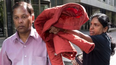 Alleged slavers Kandasamy and Kumuthini Kannan try to conceal their faces as they leave the County Court in February.