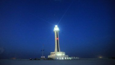 The China-built lighthouse on Zhubi Reef off Nansha Islands in the South China Sea.