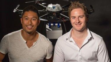 Matthew Sweeny and Tom Bass (L), Flirtey: drone pioneers.