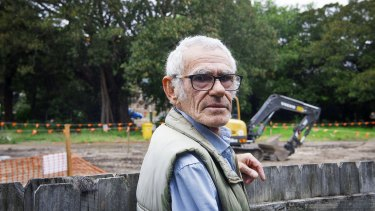 Elder Uncle Des at a Indigenous heritage site in Randwick where the light rail is being constructed.
