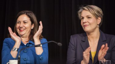 Opposition leader Annastacia Palaszczuk, pictured with federal deputy opposition leader Tanya Plibersek, has vowed to reverse the most contentious reforms of the LNP state government.