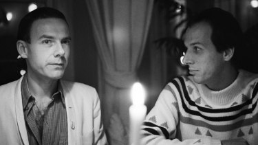 Robert Fripp and Adrian Belew at the Portobello Hotel, London, in 1981. Fripp later fired Belew after 33 years via email.