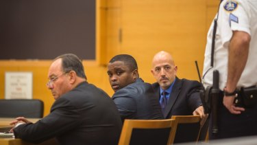 November 2017: Officer Wayne Isaacs, centre, is found not guilty in the July 2016 shooting death of Delrawn Small, an unarmed black man, in New York.