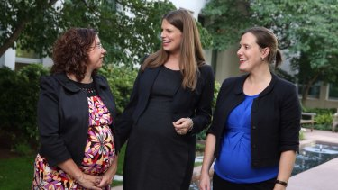 Amanda Rishworth, Kate Ellis and Kelly O'Dwyer at Parliament House on Tuesday.