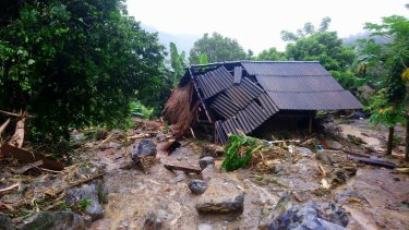 Flash floods damage a house in northern province of Hoa Binh, Vietnam.