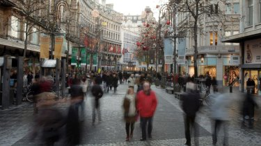 File image of the shopping street called the Meir in Antwerp, Belgium.