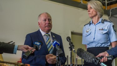Minister for Police and Emergency Services Mick Gentleman (left) and ACT's Chief policing officer Justine Saunders.