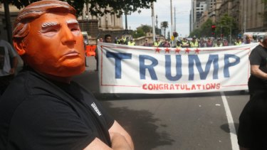 A pro-Donald Trump supporter protests in Melbourne last week.