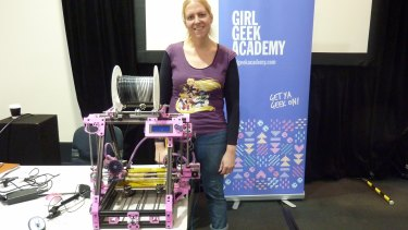 3D craft-printing enthusiast April Staines and her 'kawaii' printer.