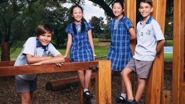 Hurstville Public students Philemon Winter, Serena Chui, Ashly Fan and Madhi Mourad.
