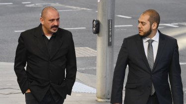 Khaled Merhi, left, with his lawyer Moustafa Kheir outside the Downing Centre Local Court on Thursday.