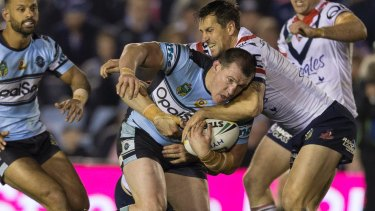 Go-ahead Gal: Paul Gallen surges forward against the Roosters.