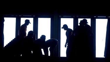 Volunteers prepare a temporary shelter in Bali.
