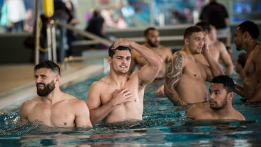 Penrith Panthers recovery session at Nepean Aquatic Centre.