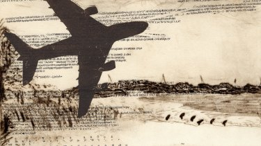 Monica Oppen, <i>First Arrival at Bonna Point, Kurnell</I>, 2017, drypoint and relief print (detail).