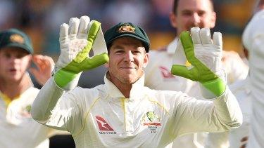 Tim Paine celebrates an England wicket.